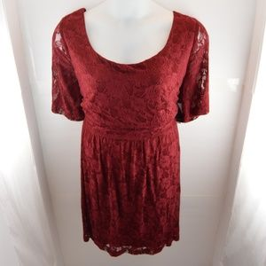 City Triangle Burgundy Lace Layered Dress